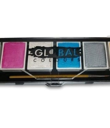 Metallic & Pearl Global Colours Palette & No. 4 Round Brush